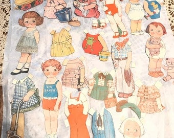 Vintage Dolly Dingle magazine cut paper dolls from the 1920s