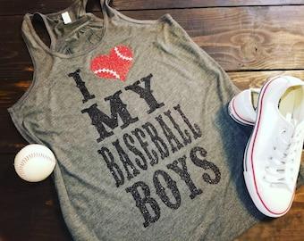 Baseball Shirt, I Love My Baseball Boy Shirt, I Love My Baseball Boys Tank, Baseball Mom, Baseball Mom Tank, Womens Baseball Shirt, Baseball