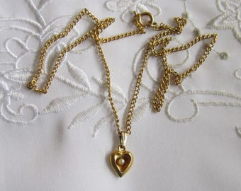 Vintage Young Girl's Heart Pendant and Faux Pearl Necklace