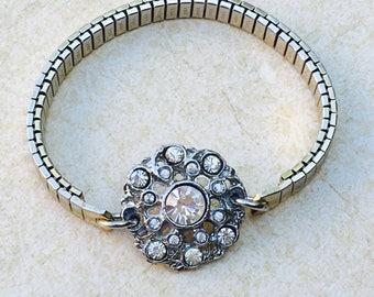 Rhinestone Watchband Bracelet- Vintage Bracelet- Assemblage Handmade Bracelet- Stretch band