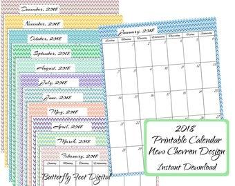 2018 Printable Chevron Calendar, Monthly Letter Size, Instant Download, JPG 300 dpi