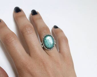 Antique Sterling Silver Ring With Green Glass Stone c.1930s