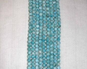 Larimar, Larimar Bead, 8 mm, AA, Smooth Bead, Natural Stone, Semi Precious Bead, Gemstone Bead, Blue Bead, Half Strand, AdrianasBeads