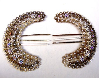 Vintage rhinestone hair comb Indonesia hair accessory headdress headpiece hair jewelry hair pick
