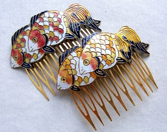 Vintage hair combs Chinese cloisonne orange yellow fish hair accessory hair pin hair pick decorative comb hair jewelry hair ornament