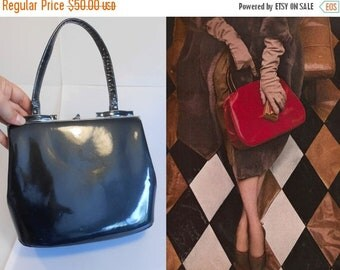 Anniversary Sale 35% Off No Charcoals in Her Stocking - Vintage 1950s Charcoal Grey Gray Patent Leather Handbag