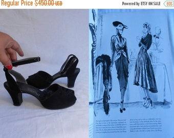 Anniversary Sale 35% Off Wednesday Luncheon '41 - Vintage 1940s WW2 Black Nubuck Leather Platform Ankle Strap Heels Pumps - 8.5