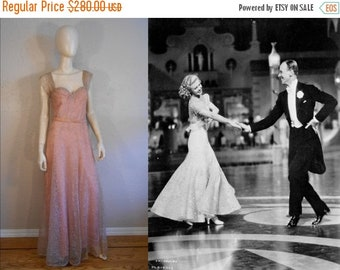Anniversary Sale 35% Off Carefree and Fancy Free - Vintage 1930s Pink Rayon Evening Gown Dress w/Mauve Lace Overlay - 6/8