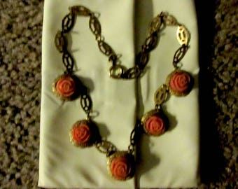 Victorian Pinchbeck Fikugree & carved Celluloid Rose Necklace