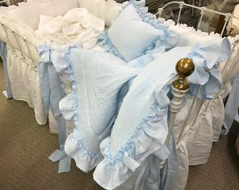 Bright White and Baby Blue Washed Linen Nursery Bedding-Made to Order Crib Linens-Bumpers-Skirt-Blanket-Pillow-Curtains