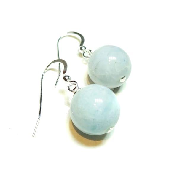 Sterling Silver & Gemstone Ball Drop Earrings - Aquamarine 14mm