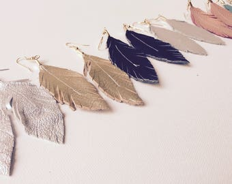 Feather Earrings, Leather Feather Earrings, Genuine Leather Feather Earrings, Large Feather Earrings, Statement Earrings, Beautiful Earrings