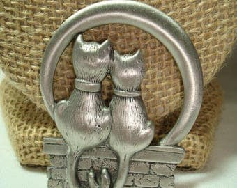 Vintage Pewter Like Cats In Love with Tail Entwined Large Pin.