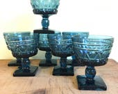 Vintage Blue Glassware, Sherbets, Dessert Glasses, Set of 7, Colony Park by Indiana Glass
