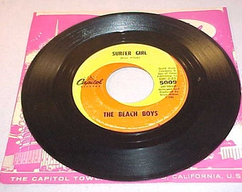 The Beach Boys - 45 Vinyl Record - Surfer Girl / Little Deuce Coupe