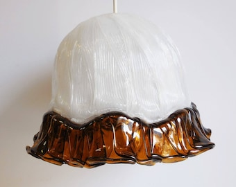Vintage Pendant Light handcrafted White ribbed Amber ribbon trim Mid Century acrylic ceiling swag lamp