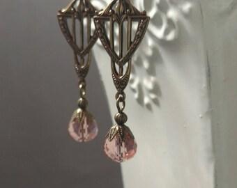Peach Art Deco Earrings - Great Gatsby Jewelry - 1920s Earrings - Miss Fisher Jewelry - Wedding Jewelry - Bridal Gift - Womens Jewelry