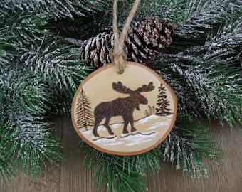 Wood Burned Moose Birch Slice Christmas Ornament Hand Burned Painted