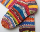 hand knitted womens wool socks, UK 4-6 US 6-8, crazy socks, rainbow socks, leftover yarn socks, mismatched socks, fun socks, multicoloured