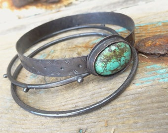 Rustic Copper Bangle Set with Turquoise