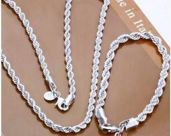 Sterling Silver Chain Necklace and Bracelet