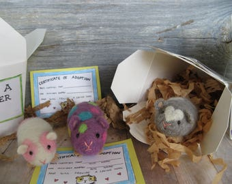 Hamster needle felted toy or collectible pink and white spots guinea pig