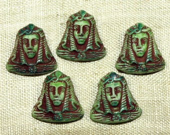 """Five """"Egyptian"""" King Tut cabochons, Czech-made in the 1920s; VGL495"""