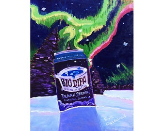 Big Dipa IPA, Denali Brewing, Alaska Beer Art, Aurora Borealis Painting, Northern Lights Print, Winter Art, Big Dipper, Graduation Present