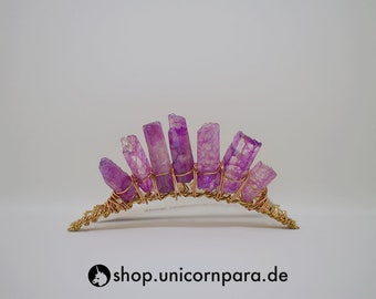 The Radiant Sky 2 Raw Quartz Point Tiara Purple, Copper and Gold