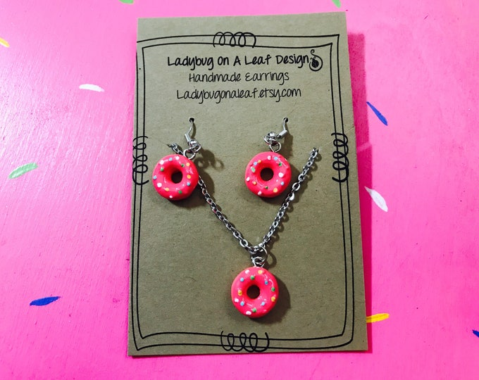 Donut Earrings and Necklace Set, Hypoallergenic Pink Frosted Doughnut  gift set for sensitive skin