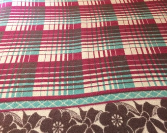 1930's soft cotton blend Camp Blanket 64x68 inch Maroon Turquoise Beige Brown Shadow Plaid Flower Bow border patterned throw