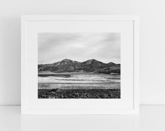Western Landscape Print, Mountain Photograph in Black and White, Traditional Photography, Physical Print