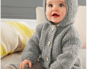 Knitting Pattern Baby Hooded Jacket PDF Pattern Instant Download  Knitted Baby Hooded Jacket  Hoodie Baby Jacket Easy Pattern