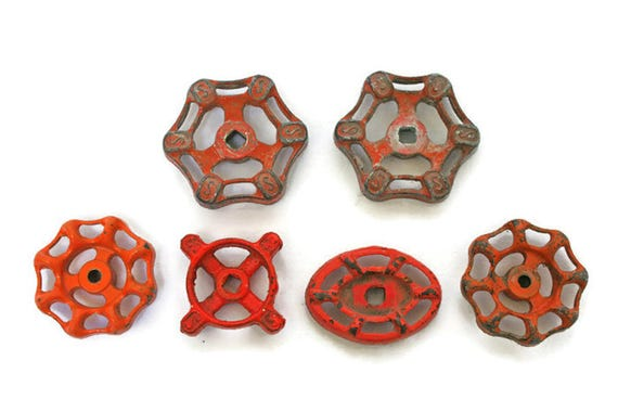 Six Vintage Valves / Orange Water Faucet Knobs / Water Spigot ...