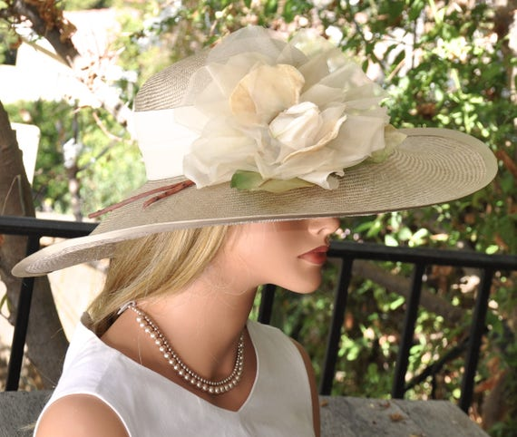 Wedding Hat, Wide Brim Hat, Derby Hat, Ascot hat, Church Hat, Formal Hat Big Hat Taupe Hat Dressy Hat Mother of Bride Hat Occasion Event Hat