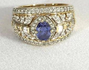 Cluster Rhinestone Statement Ring Blue Stone 9