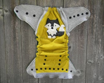 Upcycled  Merino Wool Nappy Cover Diaper Cover Wool Wrap Cloth Diaper Cover One Size Fits Most Mustard Yellow/ Gray With Wolf Applique/Green