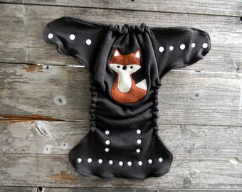 Upcycled Merino Wool Nappy Cover Diaper Wrap Cloth Diaper Cover One Size Fits All Brown With Fox Applique / Brown