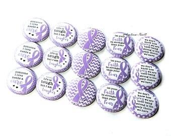 """Lavender Ribbon, 1"""", Button, Lavender Awareness Pin, Epilepsy Pin, Epilepsy Ribbon, Rett Syndrome, Cancer Awareness, Cancer Pin, Epilepsy"""