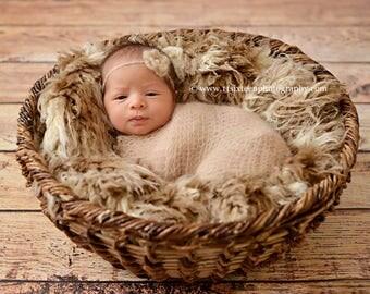 African Brown Beige Faux Flokati Fur Nest Photography Prop Rug Newborn Baby Toddler 27x20