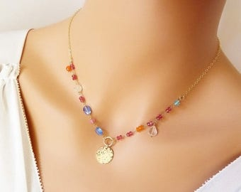 Clearance Vibrant Multi Color Gold Assimetrical necklace. Beaded wire wrapped gold necklace. Kyanite, Sapphire, Carnelian, Garnet, Apatite,