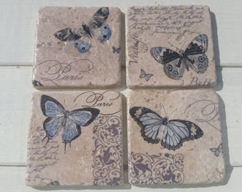 French Inspired Butterfly Coaster Set of 4 Tea Coffee Beer Coasters