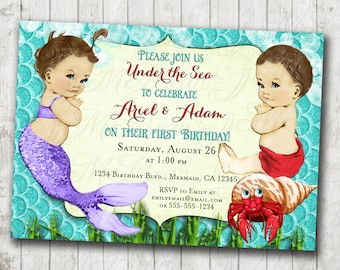 Customized Twin Birthday Party Invitation Rd Birthday - Birthday invitation cards twins