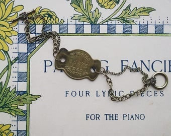 Vintage Brass Tag Bracelet, Chester County ID Tag Bracelet, Chain Bracelet, Pennsylvania Dog Tag Bracelet, Vintage Style Jewelry