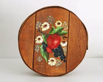 Vintage Round Cheese Box with Country Oil Painting