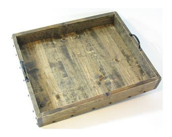 CUSTOM for Carrie: Ottoman Tray, Wooden Serving Tray, Large Wood Coffee Table Tray, Decorative Wood Tray, Engraved Gift