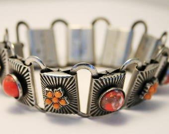 Art Deco machine age bracelet. Vintage bracelet. Coral bracelet