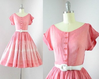 40% OFF SALE - Vintage 1950's Watermelon Pink Embroidered Dress