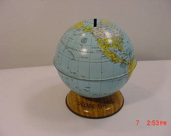 Vintage Chein Metal World Globe Bank  17 - 946