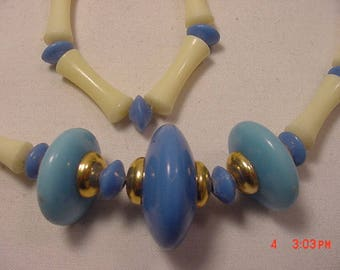 Vintage Blue & White Beads Necklace   18 - 241
